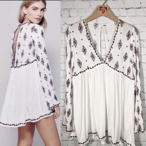 Free People Diamond Embroidered Bell Sleeve Tunic